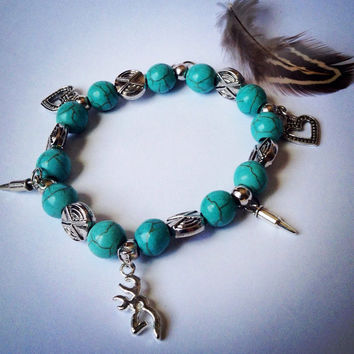 Country Buck Girls Charm Bracelet, Turquoise Diva Country Western Chic