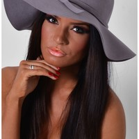 Dustin Grey Felt Fedora Floppy Hat | Pink Boutique
