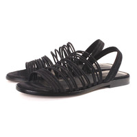 Black Strappy Slip-on Flat Sandals