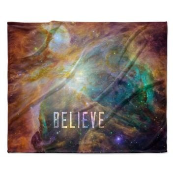 "Bruce Stanfield ""Orion Nebula Believe"" Blue Orange Fleece Throw Blanket"