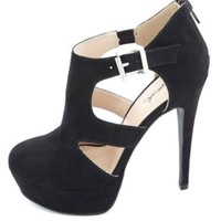 Qupid Closed-Toe Cut-Out Platform Heels by Charlotte Russe - Black