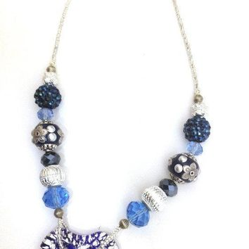 Blue and Silver Glass Heart Statement Necklace