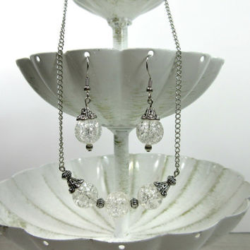 Crackle Glass Necklace and Earring Set with Clear Crackle Glass Beads and Silver Toned Accent Beads