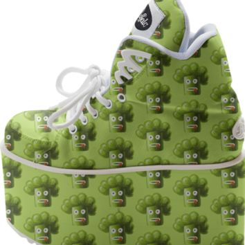 Funny Cartoon Broccoli Pattern Buffalo Platform created by Cute Strange Creatures | Print All Over Me