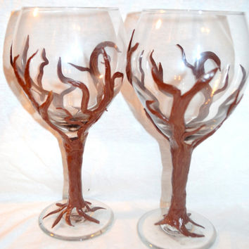 Wine Glasses, Custom made glasses, Spooky tree, Polymer Clay Decor, Wedding Glasses, Fantasy Glasses, Glass cups, polymer clay, mothers day
