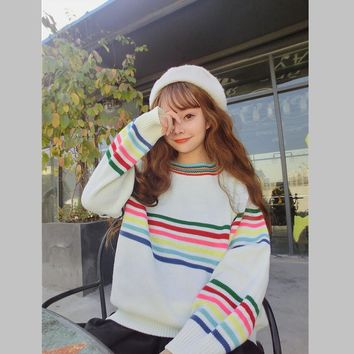Women's Japanese Harajuku Cute Sweet Rainbow Stripe Loose Long Sleeve Sweater Female Korean Kawaii Knitted Jumper And Pullover