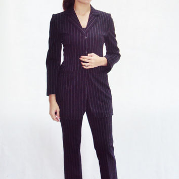 Pinstripe Suit Trousers Jacket Cami XXS, XS Size 2 Office, Secretary