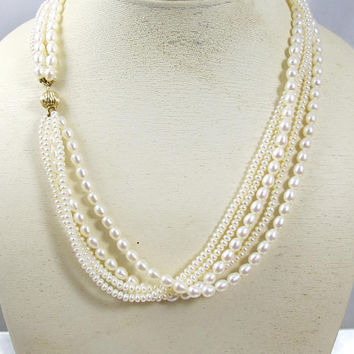 Honora Pearl Necklace. 14K Yellow Gold Freshwater Cultured Pearl Multi Strand Torsade Choker. Bridal Pearl Necklace. Honora Pearl Jewelry
