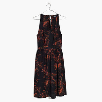 Madewell x No.6 Silk Keyhole Dress in Etched Floral