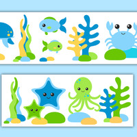 Sea Life Nursery Decor Boy Wallpaper Border Wall Art Decals [1019] - $14.00 : DeCamp Studios, The best selection of nursery wall murals, childrens wallpaper border, teen girl or boy wall art decals, baby premade scrapbook pages, and digital printable clip