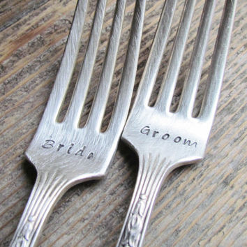 BRIDE And GROOM Hand Stamped Vintage Silver Plate Wedding CAKE Forks Great Gift Flatware