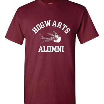 Funny Hogwarts Alumni Anvil Super Soft Ringspun Preshrunk Cotton T Shirt! Great shirt for the wizard fans