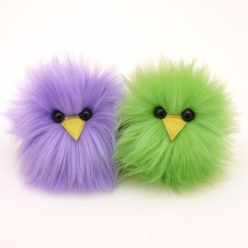 A Pair of Chicks Lavender and Lime Green Easter Micro Peeps Plush Stuffed Toy Animals