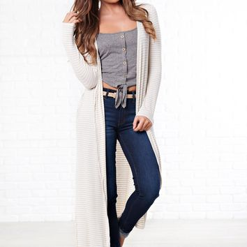 Lucy Striped Cardigan (Oatmeal)
