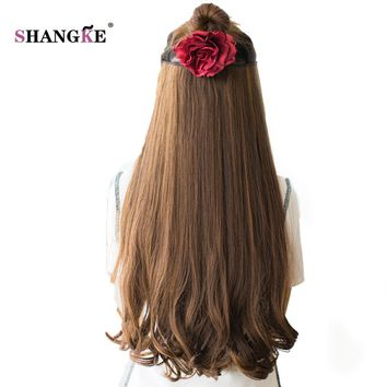 SHANGKE 26'' Long Clip In Hair Extensions Clip In Synthetic Hair Pieces Heat Resistant Fake Hairstyles Women 3 length Available