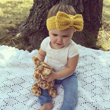 Warm and Cozy Mustard Yellow Ear-warmer/Headband with Bow, Girl Hair Accessories, Baby Headbands, Infant Hair Accessories, Big Bow Headband
