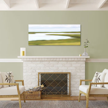 Nantucket Art Photography Canvas Gallery Wrap Abstract Marsh Photo Large Wall Art Coastal Decor Beach Art Lime Green Yellow Blue White