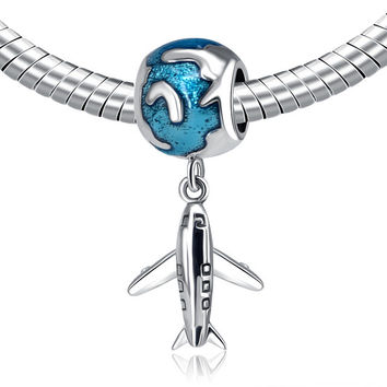 Authentic 925 Sterling Silver Bead Charm Cute Plane With Glaze Pendant Beads Fit Pandora Bracelets & Bangles DIY Jewelry YW20300