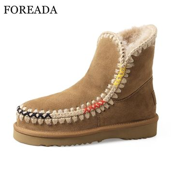 FOREADA Winter Boots Women Natural Leather Snow Boots Wool Fur Ankle Boots Platform Wedge Shoes Low Heels Suede Women Shoes 2017