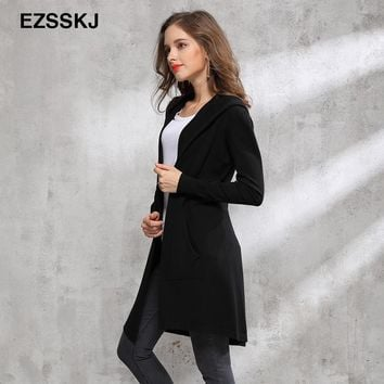 2017 Autumn winter long black hooded jacket coat sweater Cardigan women Outwear long sleeve knitted trench female coat femme
