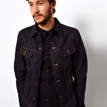 Lee Denim Jacket Rider Slim Fit Worn Rinse