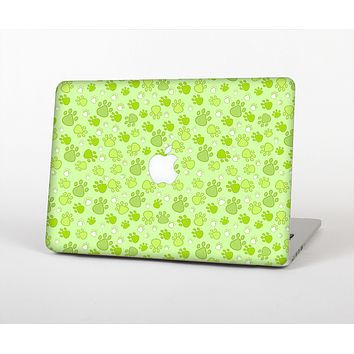 The Vibrant Green Paw Prints Skin for the Apple MacBook Air 13""