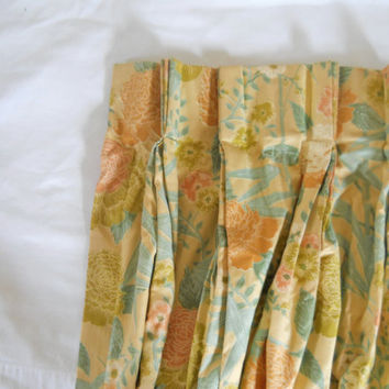 Vintage Floral Drape 76 w x 94 l Gold Curtain Pinch Pleat Drape Blue Drape Living Room Curtain Drapery Curtain Bedroom Drape Lined Drape