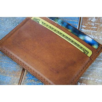 5-Slot Super Slim Front Pocket Card Sleeve Wallet (Rio Latigo Leather)
