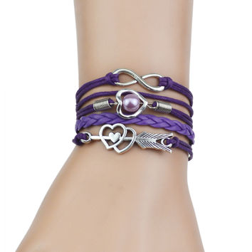 Multi-Strands Infinity Silver Color Heart Charm Leather Braid Bracelet Bangle Jewelry For Women and Men