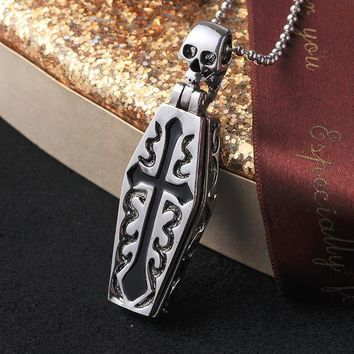 1pc Fashion jewelry Punk Skull Pendant 316L Stainless Steel Titanium Steel Mens Necklaces