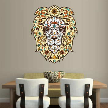 Full Color Wall Decal Mural Sticker Art Fashion Fashionable Animal Lion Head Retro Hipster Modern Fun Flowers (col344)