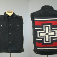 Vintage Pendleton Navajo Vest Black Suede / Indian Blanket Western Wear Button Up Vest