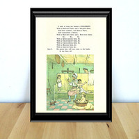 With a Shouting Here, and a Pouting There / Washroom Scene, Fairy Tale & Children's Home Decor Print (1970s} Vintage Book Page