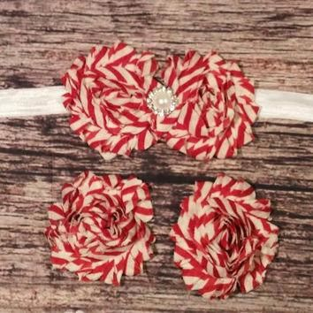 Vintage Candy Cane Headband and Barefoot Sandal Set!