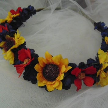 Sunflower Crown Renaissance Headdress Flowered Tiara