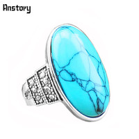 Vintage Look Fashion Jewelry Antique Silver Plated Cute Oval Mixed Color Turquoise Rings TR16