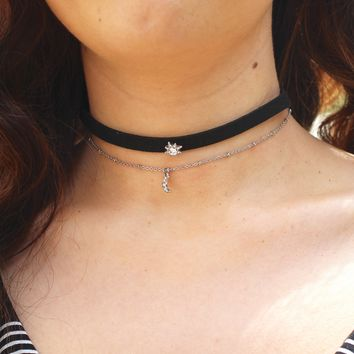 Rhinestone Star & Moon Dangle Choker