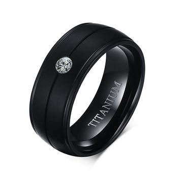 Men's Punk Pure Titanium Black Ring Matte Wedding Bands with CZ Stone Ring for Men Cubic Zirconia Engagement Accessories Jewelry