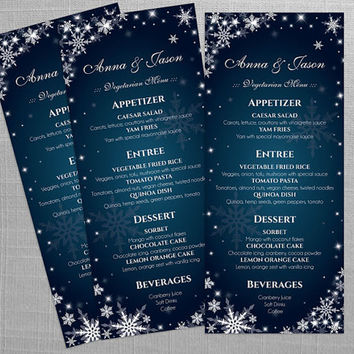 DIY Printable Wedding Menu Template | Editable MS Word file | 4 x 9.25 | Instant Download | Winter White Snowflakes Dark Turquoise