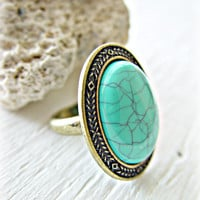 Turquoise Ring - Turquoise Boho Ring - Boho Jewelry - Ethnic Ring - Hippie Ring - Turquoise Jewelry - Gypsy Ring