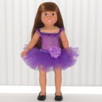Purple Dance Outfit for 18 inch Girl Dolls Ballet Costume with Sequin Leotard and Tutu American Doll Clothes