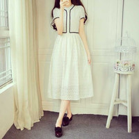 Lace Solid Color Big Pendulum Short-Sleeved High Waist Dress
