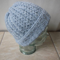 Angora blend Knit Baby Blue Beanie/Hat, Cable Knit Hat for men/women, super soft and warm, chemo hat, Winter Accessories, Ready to ship