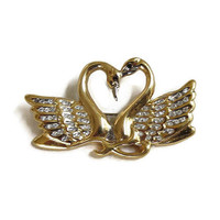 Butler signed Clear Rhinestones SWAN Heart Brooch Vintage Fifth Avenue