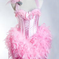Xtra-LARGE Pink Flamingo Las Vegas Showgirl Burlesque Bustier Fashion Corset Adult Halloween Costume Pink Lace Side Zip w. Fascinator