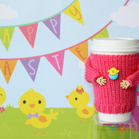 Easter cup sleeve. Easter chicken and eggs. Pink mug sweater. Travel mug cozy. Easter decor. Coffee sleeve. Spring Starbucks office coffee