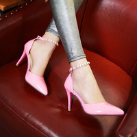 Design Summer Stylish Rhinestone Pointed Toe Shoes Plus Size Sandals [4920245572]
