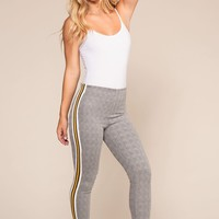 Off Track Plaid Highwaisted Racer Stripe Jeggings - Mustard