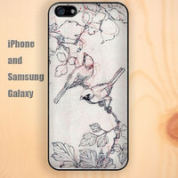 Paintings birds and trees iphone 6 6 plus iPhone 5 5S 5C case Samsung S3,S4,S5 case Ipod Silicone plastic Phone cover Waterproof