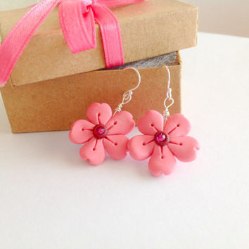 Cherry blossom earrings pink dangle earrings polymer clay earrings cherry blossom jewelry Japanese Sakura earrings sterling silver earrings